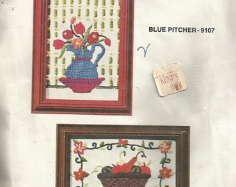 """Vintage American Family Crewel Embroidery Kit """"Gourd Basket"""""""
