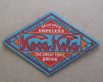 1908 Antique Koca Nola Rare Coke Competitor Bottle Label Original Soda Pop