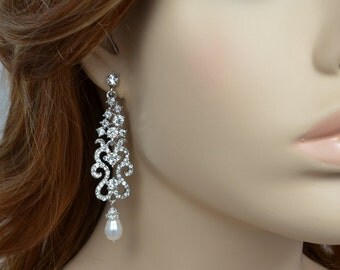 Bridal Crystal Chandelier Earrings, Swarovski Drop Pearls, Swarovski Bicone Crystals, Silver or Gold, Annabelle - Ships in 1-3 Business Days
