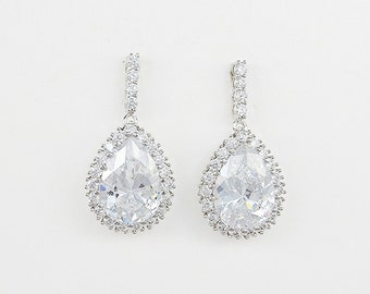 Bridal Teardrop Earrings, Clear Cubic Zirconia Crystals, Platinum Plated, Wedding Jewelry, Allysa - Ships in 1-3 Business Days