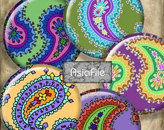 Printable Digital Clip Art 1 Inch Circle Indian Paisley Designs Embellishments Bottlecaps Multicolor Printable Download CS 115