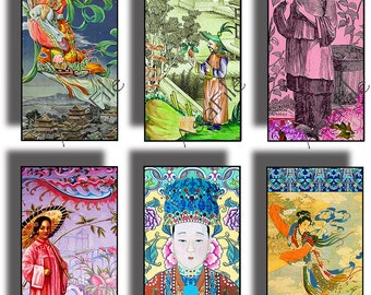 1 x 2 Inch Digital Printable Asian Scrapbook Chinese Collages Pendants Paper Craft Image Transfer Printable Downloads CS 469