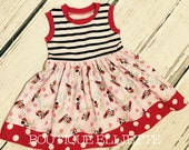 Girls Knit Tank Dress Pink Red Mouse Stripes Baby Toddler