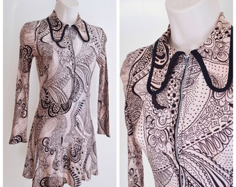 1960s Psychedelic print zip front mini dress / 60s Paisley printed long collar dress - XXS XS