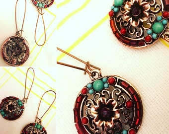 Copper Red and Blue Dangle Earrings