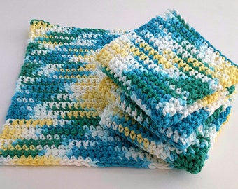 Crochet Wash Cloths, Crochet Dish Cloths, 100% Cotton, Handmade Washrag, Set of 4 Kitchen Dishcloths, Face Cloth, Potholder