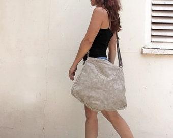 Summer SALE, Large canvas bag in nude, canvas crossbody purse, fabric crossbody tote, nude canvas messenger, women fabric bag, large purse,