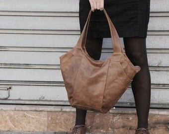 Brown Leather bag, soft leather bag, women leather bag, brown leather tote bag, everyday bag casual bag, Distressed leather bag