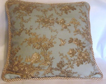 French Country Romantic Cottage Garden Pillow Paris Bistro Beige Blue Ivory Toile Farm