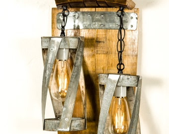 "TUSCAN - ""Double Vitali"" - Wine Barrel Wall Sconce -100% Recycled"