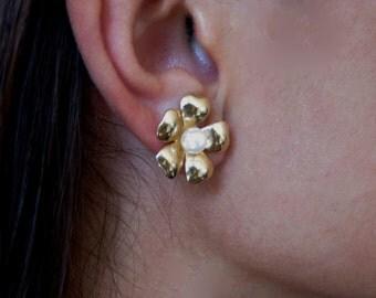 14K Gold & Pearl Stud Earrings