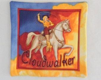 Southwest Fabric Hot Plate Cowgirl on Horseback Cloudwalker