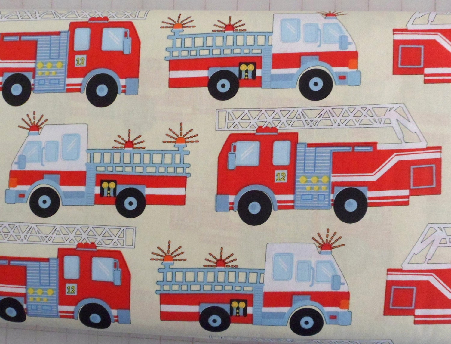 fire truck fabric hook ladder fabric cotton fabric sewing fabric quilting fabric craft material
