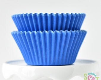 Solid Blue BakeBright GREASEPROOF Baking Cups Cupcake Liners   ~30 count