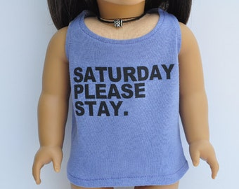 AG Doll Clothes - Graphic Tee - Saturday Please Stay, Violet, Scoop Tank, Top, T-shirt, 18 inch