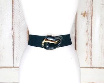 80s dark green enamel leaf buckle wide stretch belt/statement cinching belt/wide green elastic stretch belt
