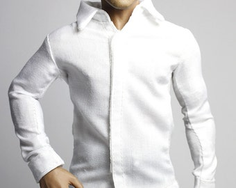 mc0243 Men's Fashion Design White Shirt Slim Fit for 1/6 Action Figure (Shirt ONLY)