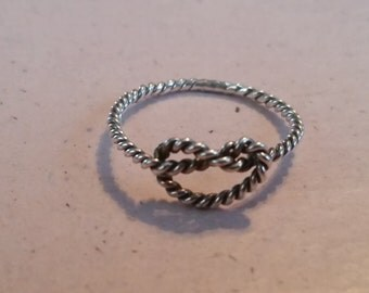 Vintage Sterling Silver Love Knot Promise Ring Engagement Ring Twist Rope Ladies 1980s Size 8