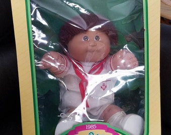 Vintage Cabbage Patch Kid Doll Brown Eyes Pajamas  Xavier Roberts 1985 Original Box As Is Sailor Outfit White and Red Boy