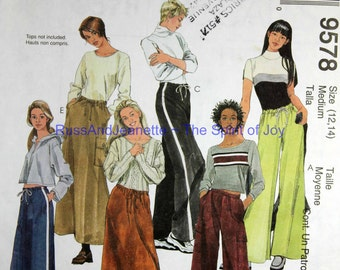 SIze 12 14 McCalls 9578 Pull on Pants and Skirt Casual Sport Athletic Fashion Womens Misses Uncut Sew Sewing Pattern