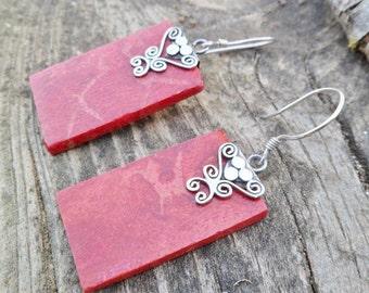 Sponge Coral Earrings. Red Coral Earrings. Sterling Silver Earrings. Dangle Earrings. Mineral Earrings.