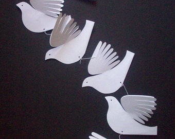 Paper Birds--Six White Doves on a String