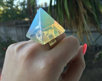 Opalite Pyramid Ring (made to order)