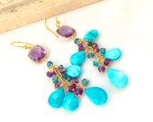 Amethyst and Turquoise Linear Cluster Earrings Gold Filled February December Birthstone