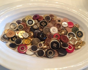 Gold Four Hole Buttons - 100 assorted gold with colours 4 hole buttons