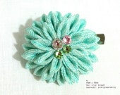 Ocean blue Elegant Dahlia hair clip/ brooch. Tsumami kanzashi. Kanzashi flower. silk flower. 2 way hair clip. Japanese hair ornament.