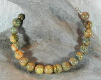 "Green rainforest rhyolite bracelet 8.5"" long 8mm pink orange brown green unakite granite semiprecious stone jewelry in a gift bag 11731"