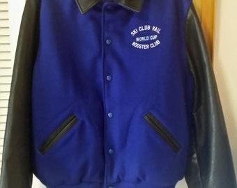 Dehen Letterman Jacket Vail Ski Booster World Club L Wool Leather Quilt Lining