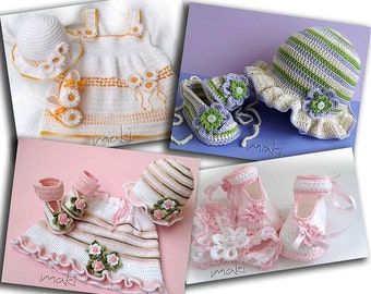 CROCHET PATTERN - 4 baby sets - booties, headband, hats and dress - Full of large pictures! Permission to sell finished items.