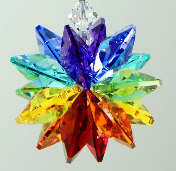 m/w Swarovski® crystal, Chakra Octagon StarBurst Sunburst Star Sun Catcher Car Charm Home Window Ornament, Pearl Place N More