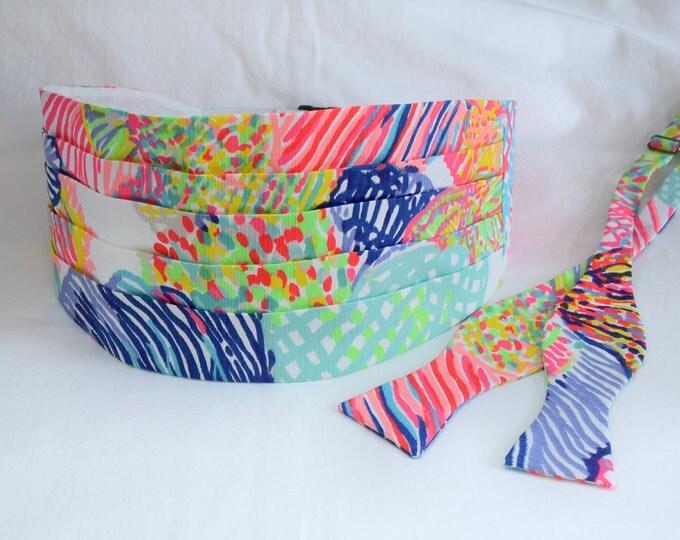 Cummerbund & Bow Tie, Roar of the Seas multicolor Lilly print, wedding party attire, tuxedo accessory, prom cummerbund set, groom cummerbund