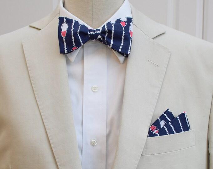 Men's Pocket Square & Bow Tie set, navy pink Swim Lanes, groom attire, groomsmen gift, men's gift set, wedding party wear, formal menswear
