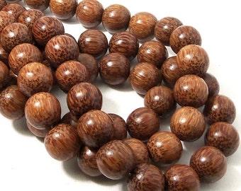 "Palmwood, 14mm - 15mm, Dark, Natural Wood Beads, Round, Smooth, 16"" Strand - ID 1053-DK"