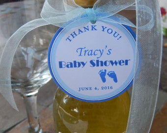 """Thank You 2"""" Custom Baby Shower Favor Tags - For Mini Wine and Champagne Bottles - Party Favors- Baby Feet - (50) Personalized Printed Tags"""