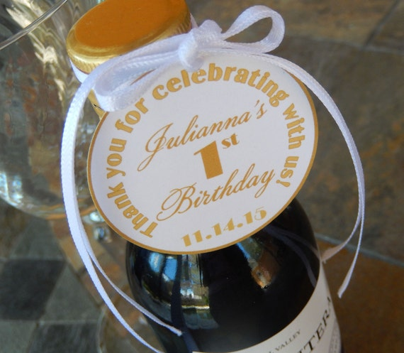 """Thank You Custom 2"""" Favor Tags - For Mini Wine Bottles - Birthday or Anniversary - Wedding - Rehearsal Dinner - Engagement Party - (75) Tags"""
