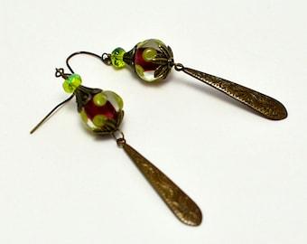 Polka Dot Lampwork Earrings