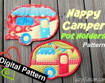 Happy Camper Pot Holders Digital Pattern, quilting, kitchen, camping