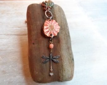 Pottery Flower Dragonfly Necklace