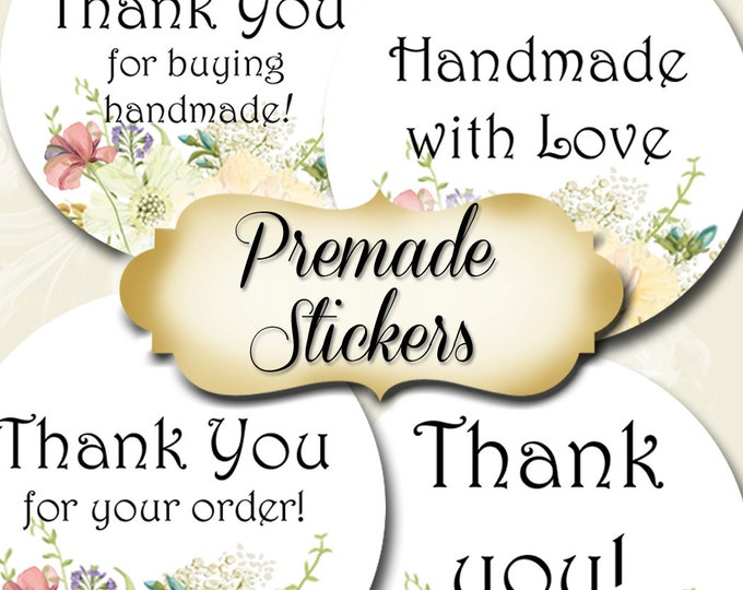 PREMADE•60 Custom 1.5 x 1.5 Round STICKERS•Round Labels•Tags•Package Labels•Custom Stickers•Custom Labels•Packaging•Floral 001 Series