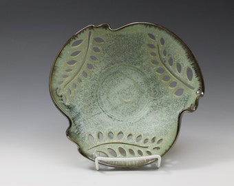 Fancy Pierced Leaves Handmade Pottery Bowl Sea Foam