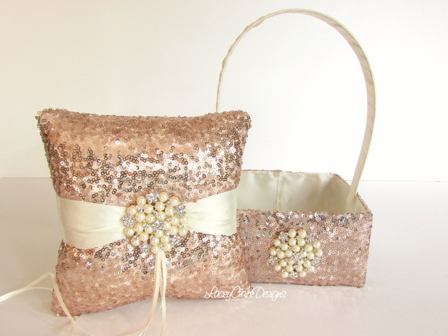 Wedding Ring Pillow And Flower Girl Basket Set With Sequins