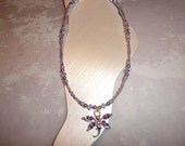 Lavender And Silver Dragonfly Ankle Bracelet