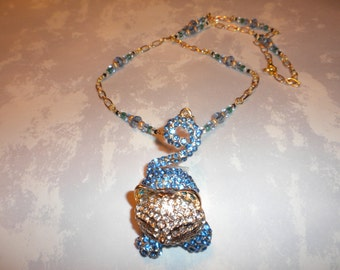 Blue Crystal And Gold Rhinestone Kitty Cat Necklace