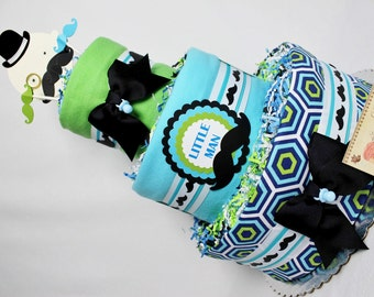 Baby Diaper Cake Mustache Theme Shower Gift Centerpiece Boys