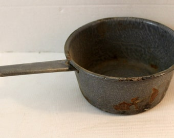 Vintage gray spotted enamel sauce pan camping homestead