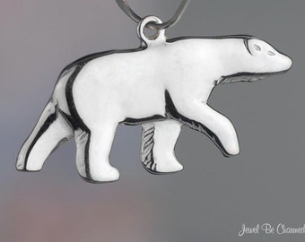 Shiny Sterling Silver Polar Bear Charm Double Sided Bears Solid .925
